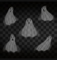 halloween ghosts on transparent background flying vector image