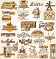 Retro vintage labels restaurant vector image