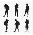 Silhouette of a tourist with camera vector image