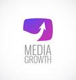 TV screen with arrow media logo template Growth vector image