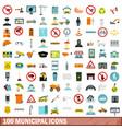 100 municipal icons set flat style vector image