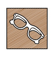 color pencil drawing square frame with sunglasses vector image