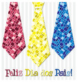 Bright mosaic Portuguese Happy Fathers Day neck vector image