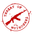 Stamp with AK-47 and bloody blots vector image