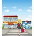 A pretty girl shopping vector image