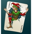 Cartooned Joker Jumping Out From Playing Card vector image