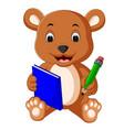 cute bear reading book vector image