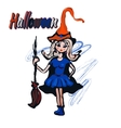 Halloween character witch cartoon vector image