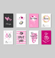 happy valentines day cards set with calligraphy vector image