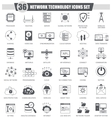 Network technology black icons set Dark vector image
