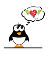 penguin with heart vector image