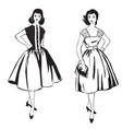 Stylish cloth woman fashion dressed girl 1960s vector image