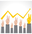Victory hand make a business graph vector image