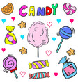cute candy various doodle style vector image