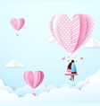 happy couple in love swings with heart shape vector image