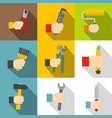 builder tools icons set flat style vector image