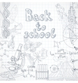 Back to school squared paper sheet with doodles vector image