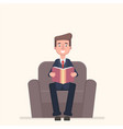 businessman sitting in armchair and reading book vector image