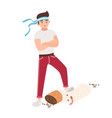 concept of fight against smoking young guy vector image