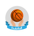 emblem basketball game icon vector image