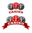 Jack pot icon with triple seven on chips vector image