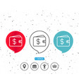 shopping wallet line icon dollar sign vector image