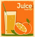 vintage poster of orange juice on old paper vector image
