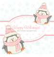 Beautiful Christmas winter card with penguins vector image vector image