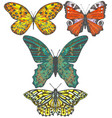 set of colored hand-drawn butterflies vector image