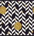 chevron black pattern and golden chaotic dots vector image
