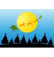 Silhouette Christmas tree and Santa vector image vector image