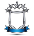 Five silver stars with wavy ribbon placed over vector image