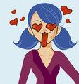 Anime manga girl in love vector image