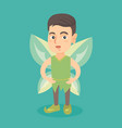 caucasian fairy boy with green butterfly wings vector image