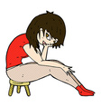 comic cartoon woman sitting on small stool vector image