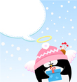 Cupid Penguin Message vector image