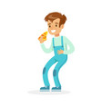 cute smiling boy eating pizza colorful character vector image