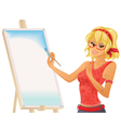 Pretty girl painting vector image