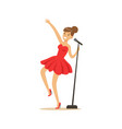 young beautiful girl in red dress singing a song vector image
