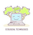 blue color laptop with green trees and te vector image