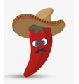 cartoon red chili pepper hat mexican design vector image