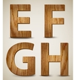 Grunge Wooden Alphabet Letters E F G H vector image