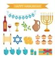 Hanukkah set of cartoon icons Hanukkah Icons with vector image