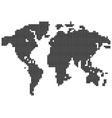 isolated black color worldmap of dots on white vector image