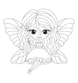 Outlined of an adorable fairy vector image