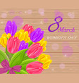 vintage women day card with tulip flowers bouquet vector image