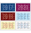 set of calendar grid for years 2017-2022 vector image vector image