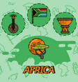 africa flat concept icons vector image