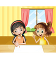 Two kids inside the house watching the empty vector image vector image