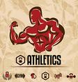 athletics gym labels vintage fitness emblems vector image